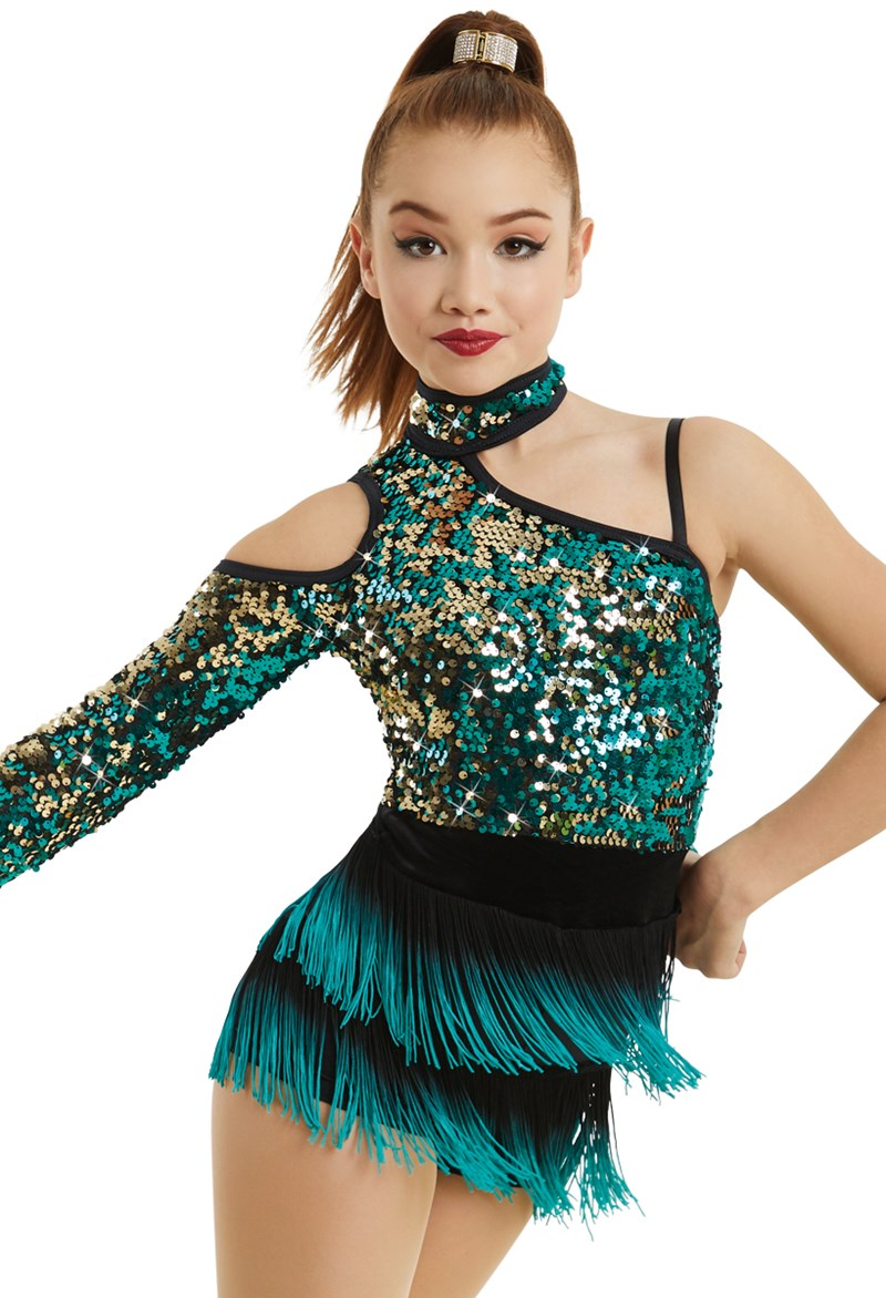 Asymmetrical Sequin Bodice With Fringe Weissman
