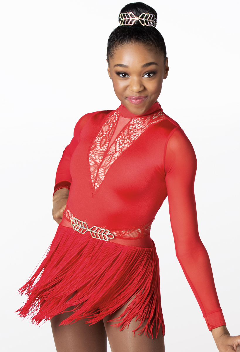 Red Glitz Fringe Top and Shorts Salsa Jazz Modern Tap Dance Costume