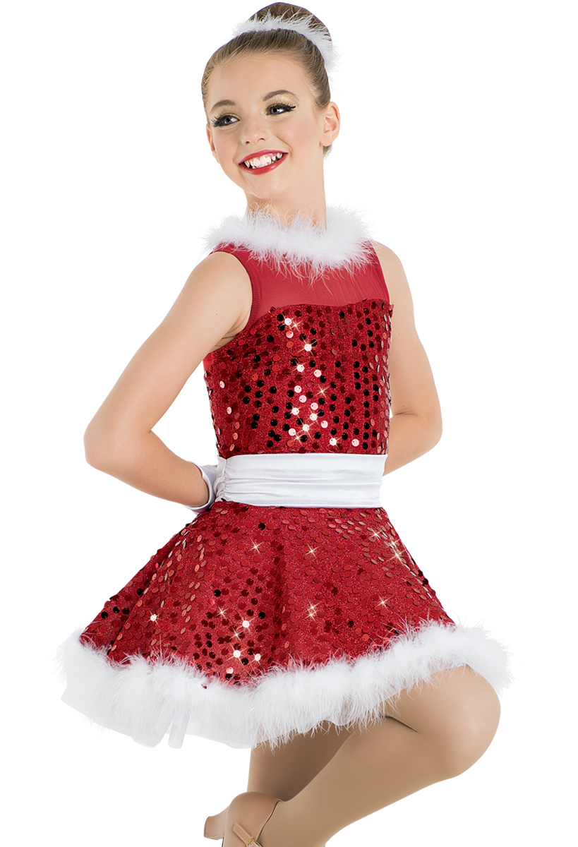 Baby It/'s Cold Outside Dance Costume Fringe Skirt w//Mitts Child Medium /& Adult S