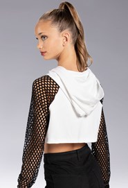 Cropped Hoodie With Fishnet