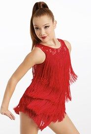 red fringe dress dancewear solutions
