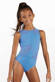 Jami Juniors Girls Dance Gymnastic Leotard Long Sleeve Round Neck Bodysuit Top Childrens Kids Ballet Party