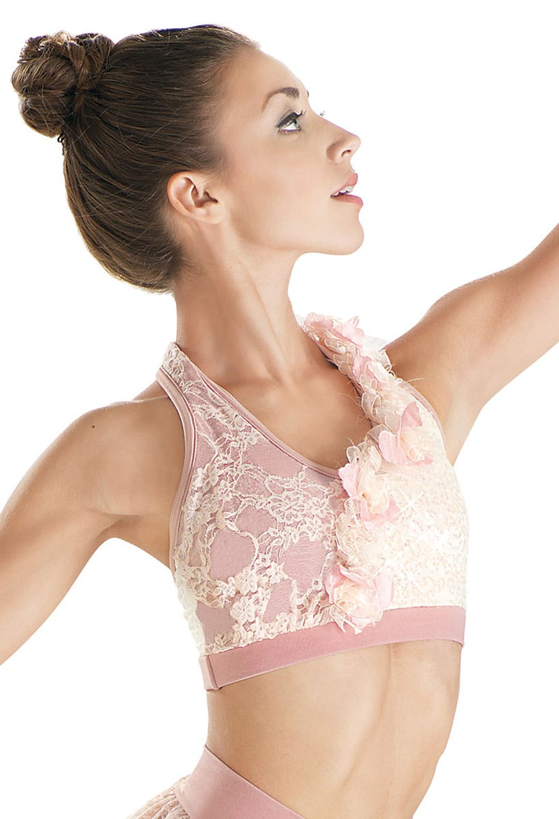 9268e0e0b6 Sequin Lace Flower Halter Dance Bra Top - Balera