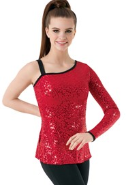 d8f5624387b90 One Sleeve Sequin Tunic