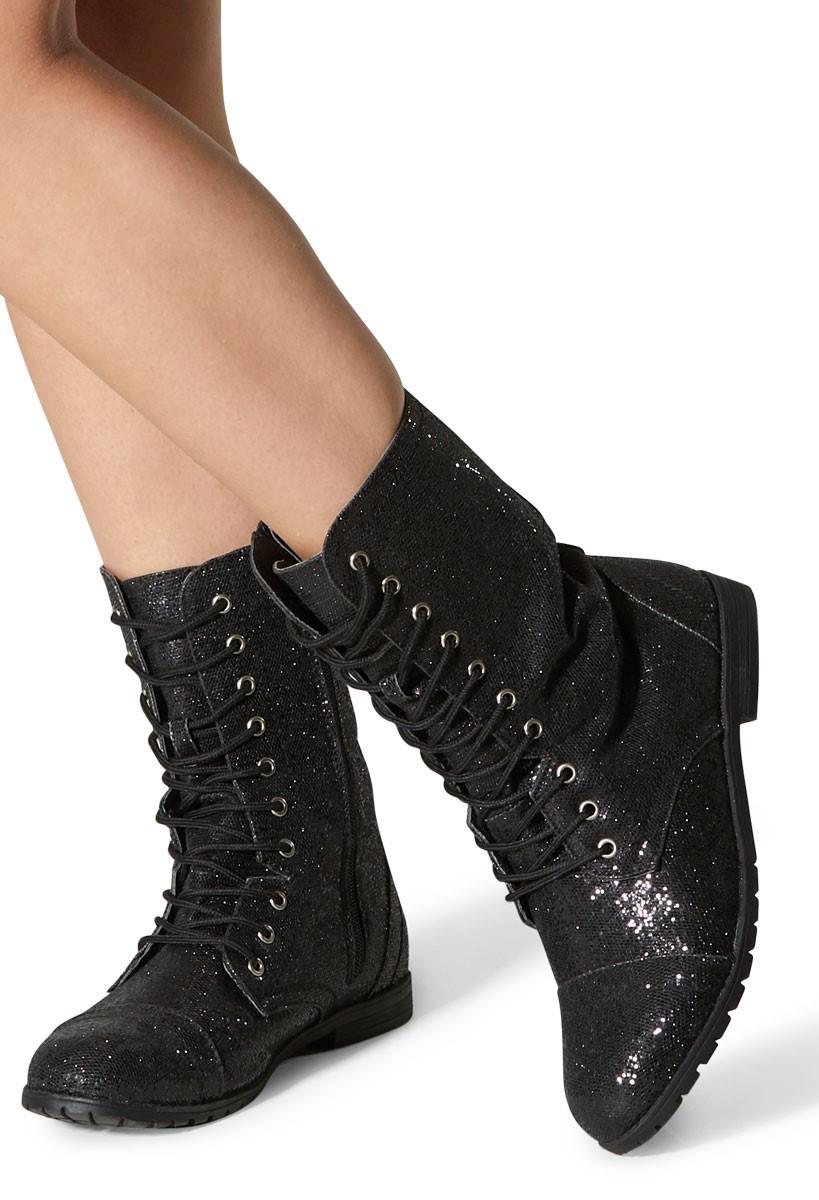 Glitter Lace-Up Combat Boots | Balera™