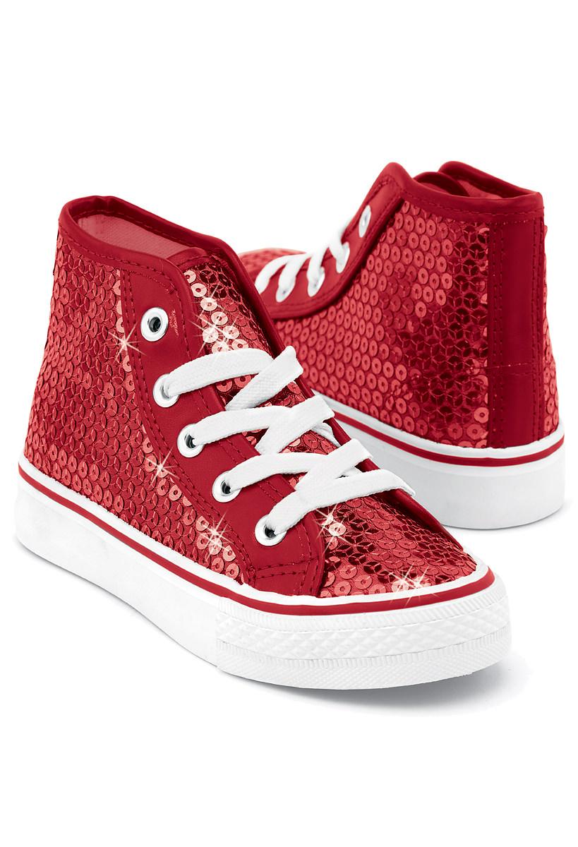 Red Sequin High Top Sneakers