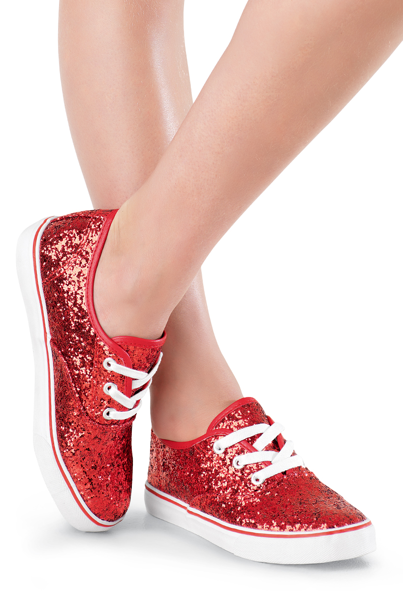 Glitter Low-Top Canvas Dance Sneakers